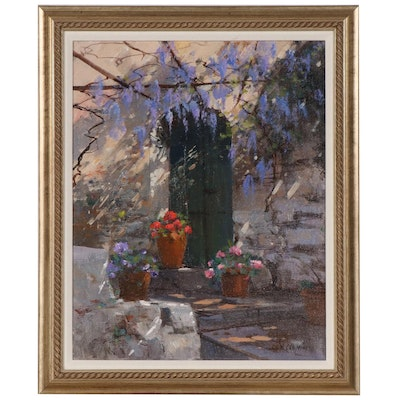Maria Serafina Oil Painting of Floral Courtyard