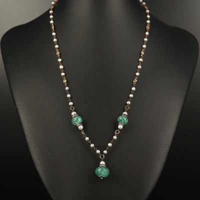 Sterling Beryl, Rhinestone and Pearl Station Necklace