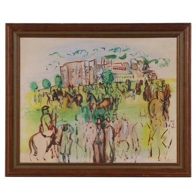 A. Culler Oil Painting of Gathered Horses and Spectators