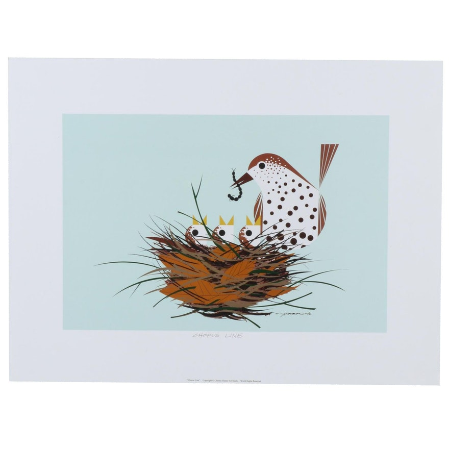 """Offset Lithograph after Charley Harper """"Chorus Line,"""" 21st Century"""