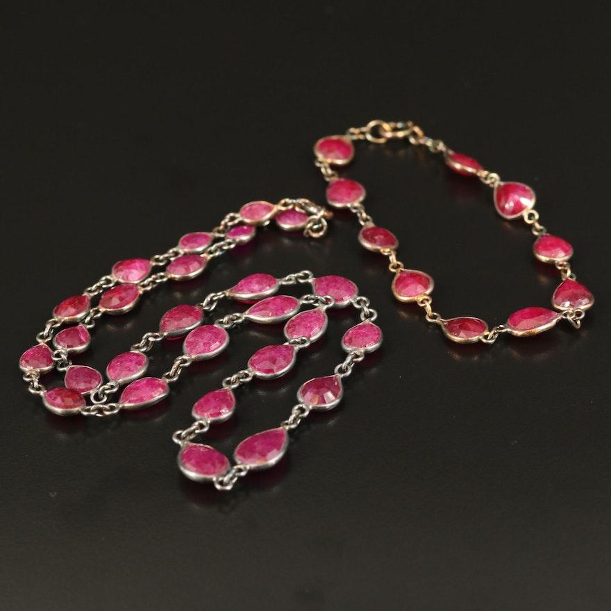 Sterling Corundum Station Necklace and Bracelet