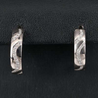 14K Diamond Half Hoop Earrings