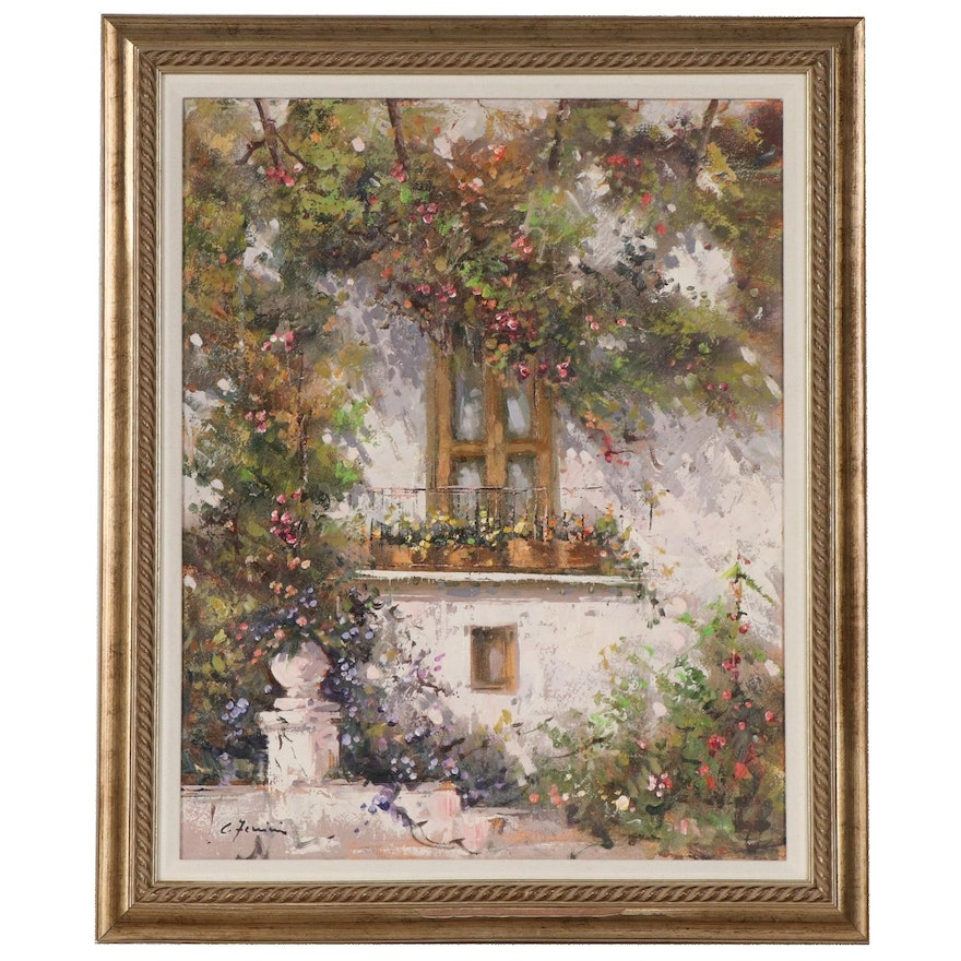 Oil Painting of Floral Window, Late 20th to 21st Century