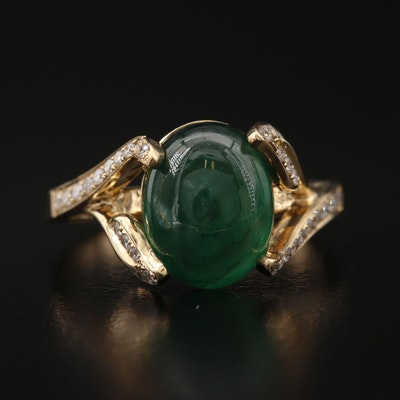 14K Emerald and Diamond Ring with Leaf Detail