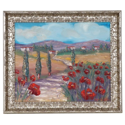 Sarah Kadlic Impressionist Style Oil Painting of European Landscape with Flowers