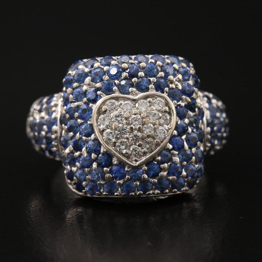 18K Pavé Diamond and Sapphire Heart Ring