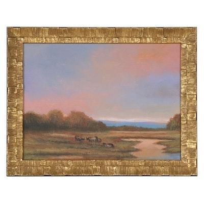 Sunset Landscape Oil Painting, 2021