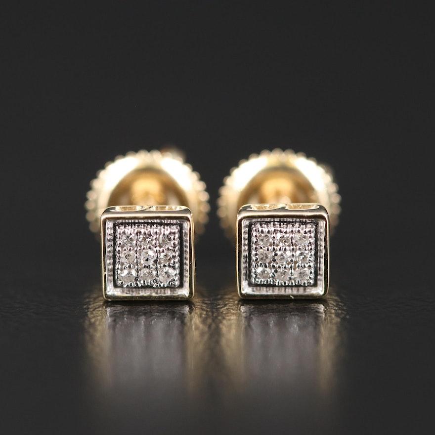 14K Diamond Square Cluster Earrings