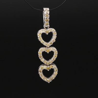 14K Diamond Triple Heart Pendant