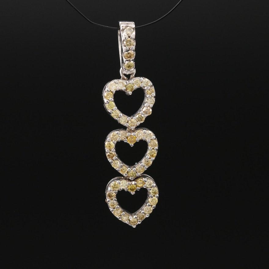 14K Diamond Triple Heart Pendant