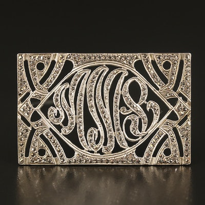 Sterling and Cut Steel Open Initial Brooch