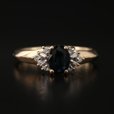 10K Sapphire and Diamond Ring with Knife Edge Shoulders