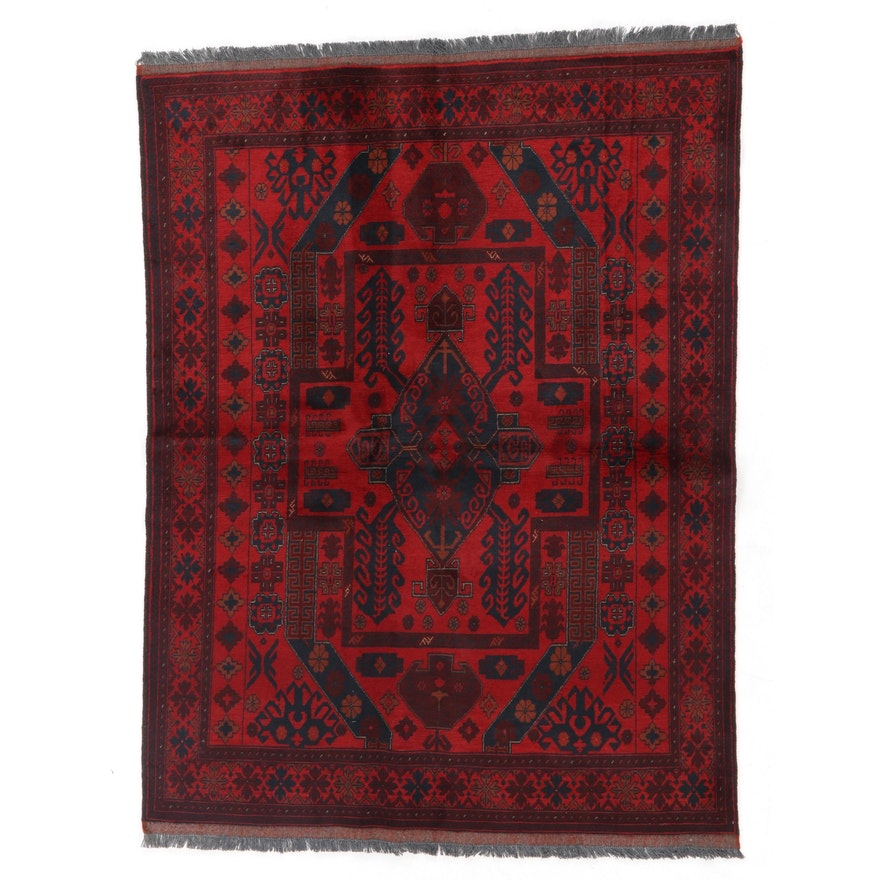 4'11 x 6'10 Hand-Knotted Afghan Kunduz Area Rug