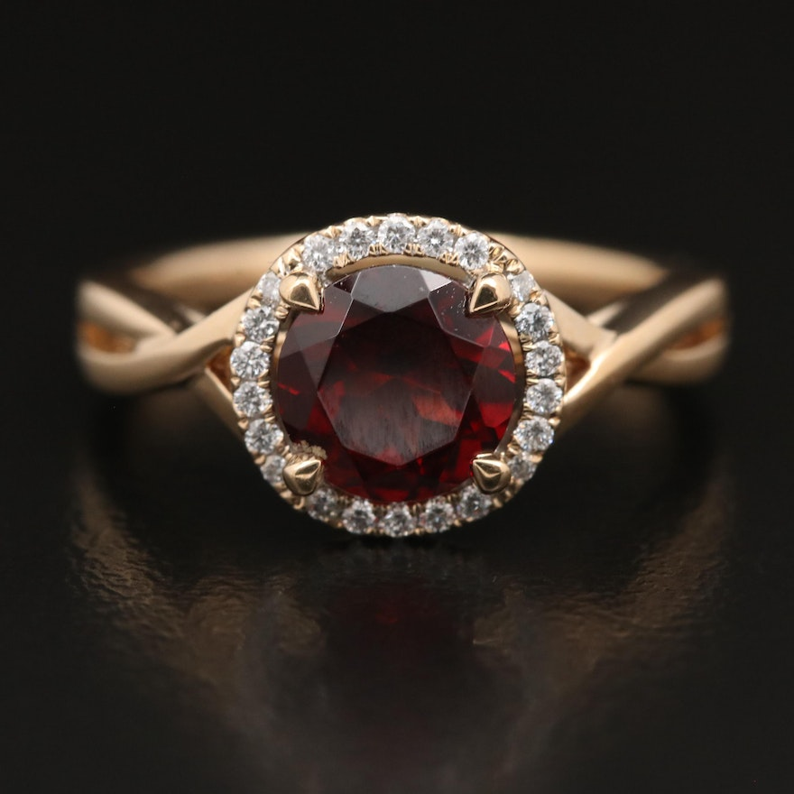 14K Garnet and Diamond Ring with Twisted Shank