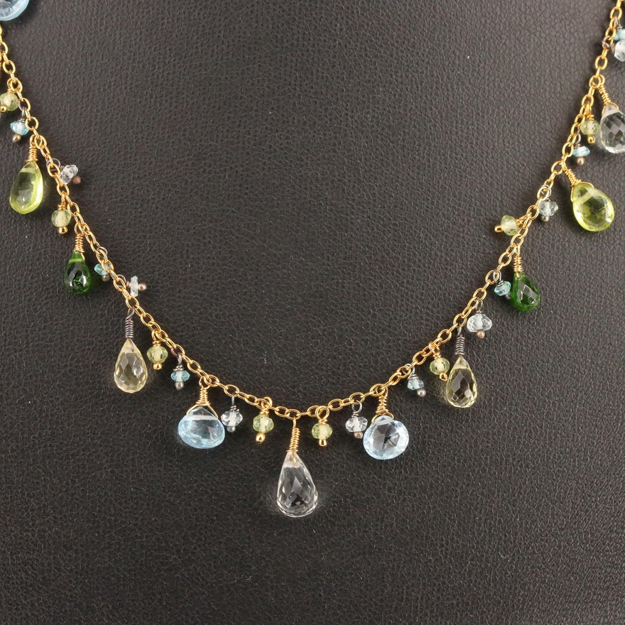 Sterling Fringe Necklace Featuring Topaz, Peridot and Diopside