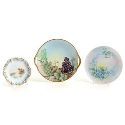 Hobbyist Porcelain Hand-Painted Plates and Cake Plate, Early-Mid 20th Century