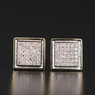 14K Diamond Cluster Square Earrings