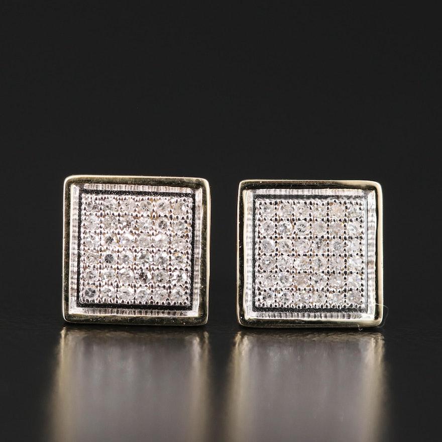 14K Diamond Cluster Square Earrings