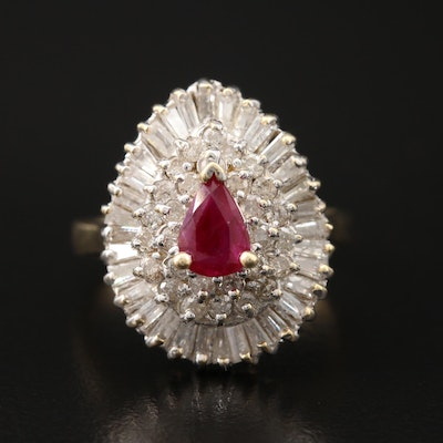14K 1.38 CTW Ruby and Diamond Ballerina Cluster Ring