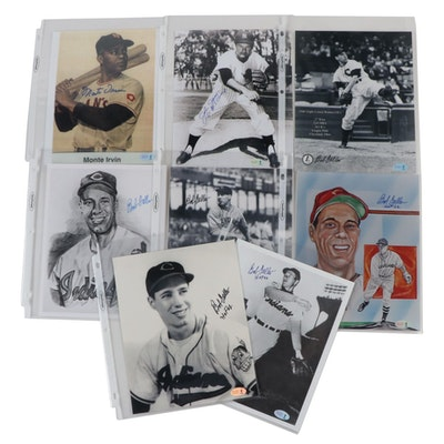 Monte Irvin, John James and Bob Feller Signed Photos, COAs