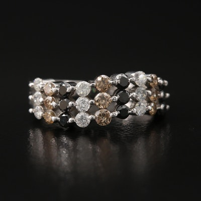 14K Multi-Row Diamond Ring