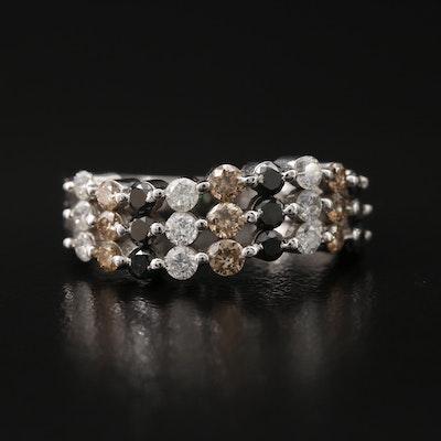 14K Multi-Row Diamond Ring