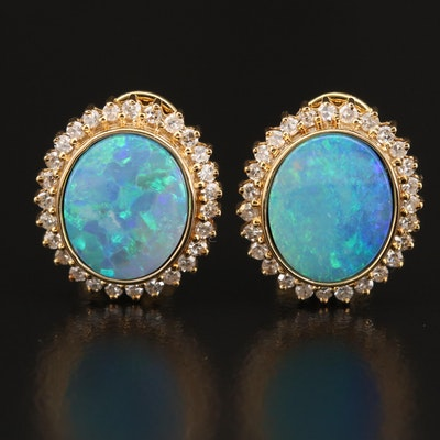 14K Opal Doublet Diamond Halo Earrings
