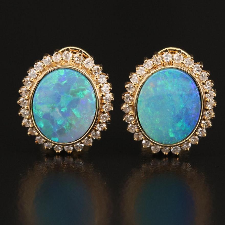 14K Opal Doublet Diamond Halo Earrings