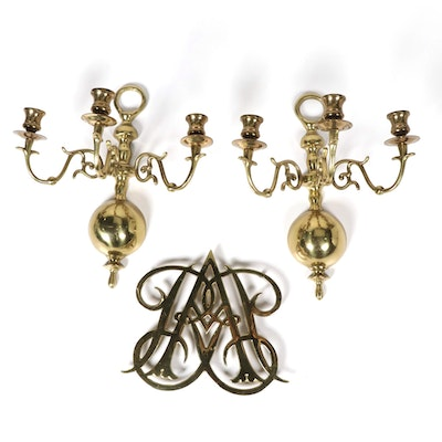 Virginia Metalcrafters Queen Anne Cypher Trivet and Other Brass Candle Sconces