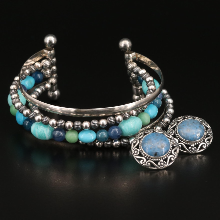 Carolyn Pollack for Relios Sterling Gemstone Cuff and Button Earrings