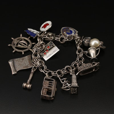 Sterling Silver Travel Themed Charm Bracelet