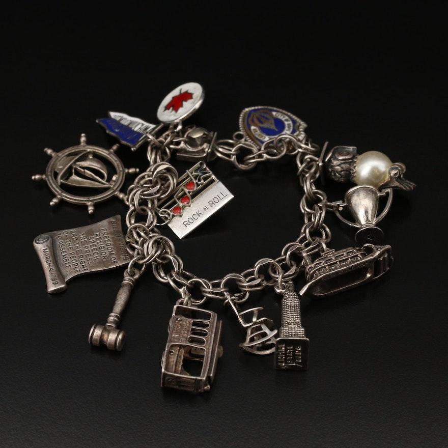 Sterling Silver Travel Themed Charm Bracelet