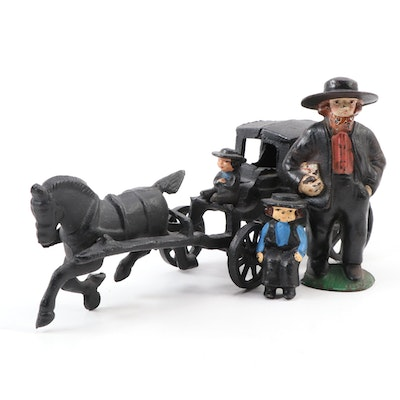 Reproduction Cast Iron Toy Horse and Buggy with Figurines