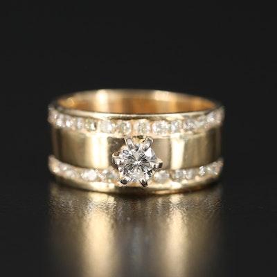 14K 1.03 CTW Diamond Double Row Ring