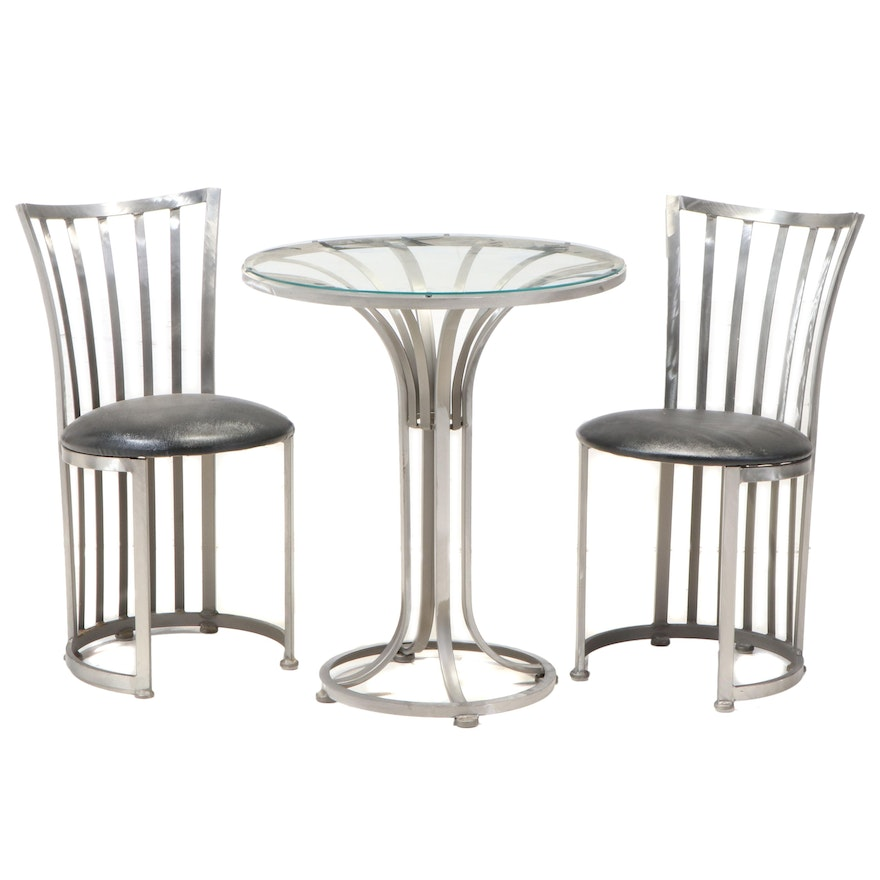 Shaver-Howard Modernist Brushed Steel Bistro Table and Chairs Set