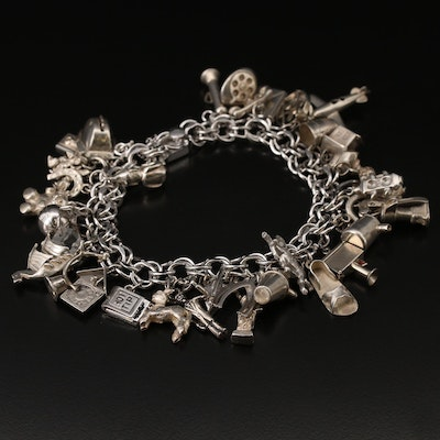 Sterling Charm Bracelet Including Articulated Charms