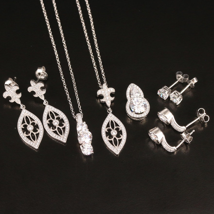 Sterling Silver Cubic Zirconia Pendant Necklaces and Earrings
