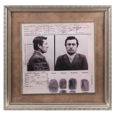 Benito Mussolini Mugshot, Framed Reproduction