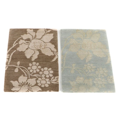 1'10 x 2'6 Hand-Knotted Nepalese Wool and Silk Accent Rugs from The Rug Gallery