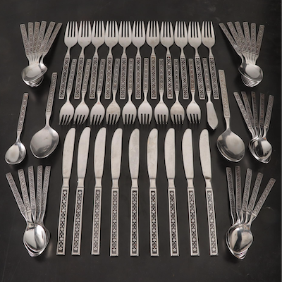 Northcraft Korea Floral Stainless Steel Flatware, Mid to Late 20th Century
