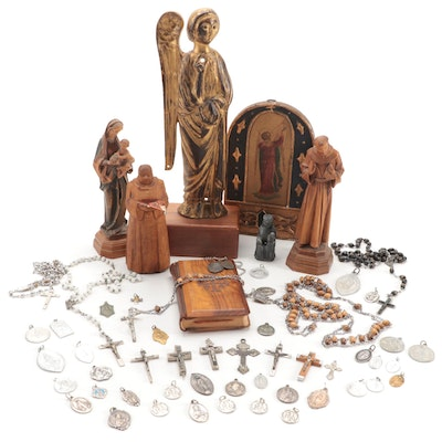 Religious Figurines, Rosaries, Pendants, and Red Letter Bible