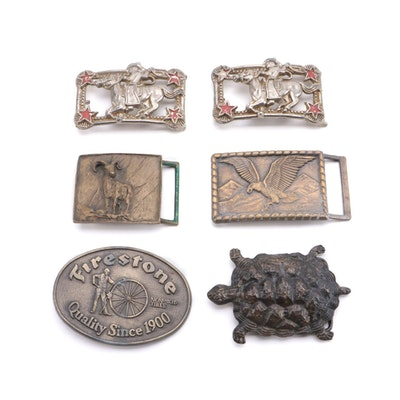 C. Alan Johnson Ram Buckle with Firestone, Eagle, and More Metal Belt Buckles