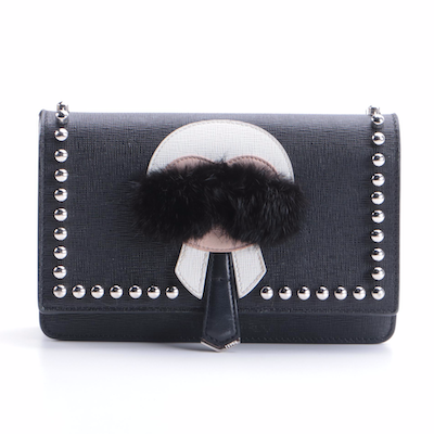 Fendi Karlito Studded Wallet on Chain Bag in Saffiano Leather with Mink Fur Trim
