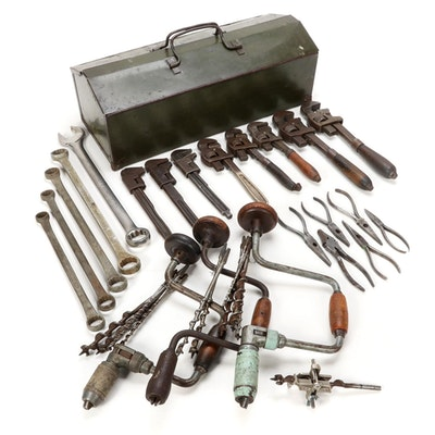 Hand Tools Including Steel Toolbox, Wrenches, and Pliers, 1940s