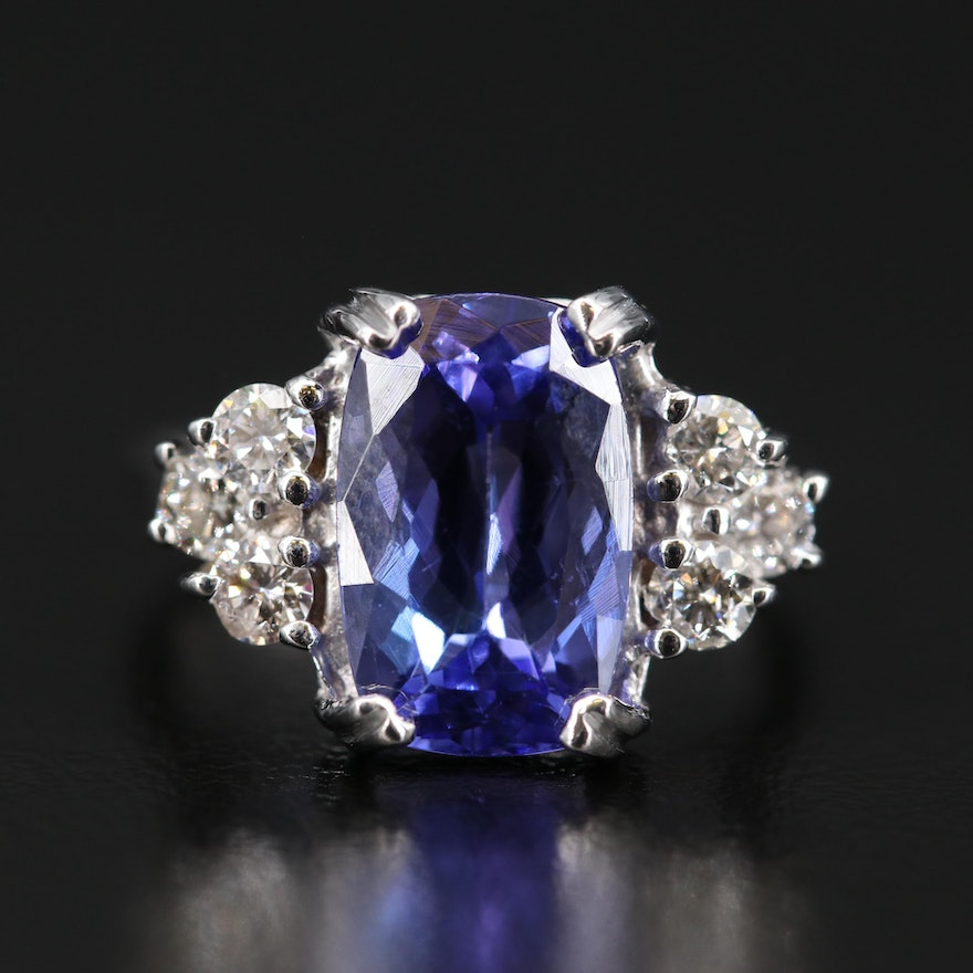 14K 3.58 CT Tanzanite Ring with Diamond Shoulders