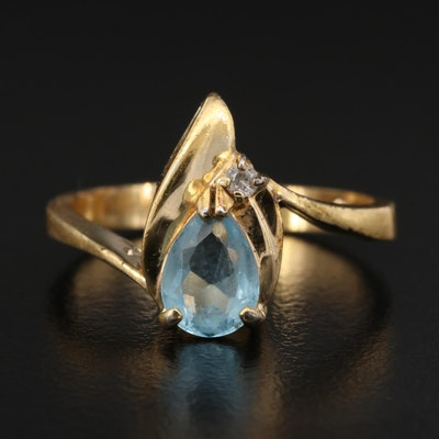 Blue Glass and Cubic Zirconia Bypass Ring