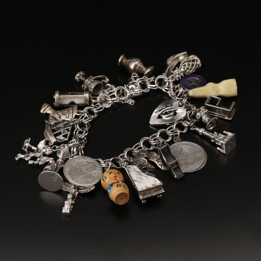 Sterling Charm Bracelet with 800 and 900 Silver Charms