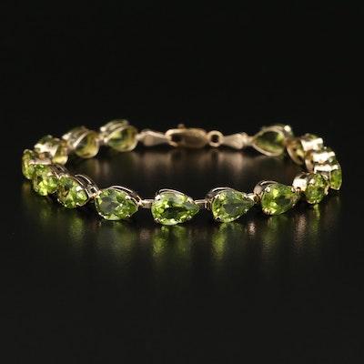 14K Peridot Link Bracelet