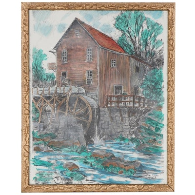 "Hand-Colored Halftone after Leslie Cope ""Grist Mill, West Virginia,"" 1993"