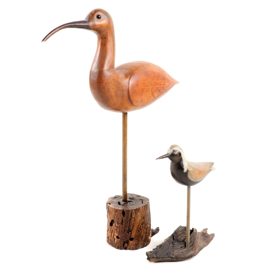 Wilt Folk Art  Carved Wood Shore Bird Figures on Driftwood Stands, Late 20th C.